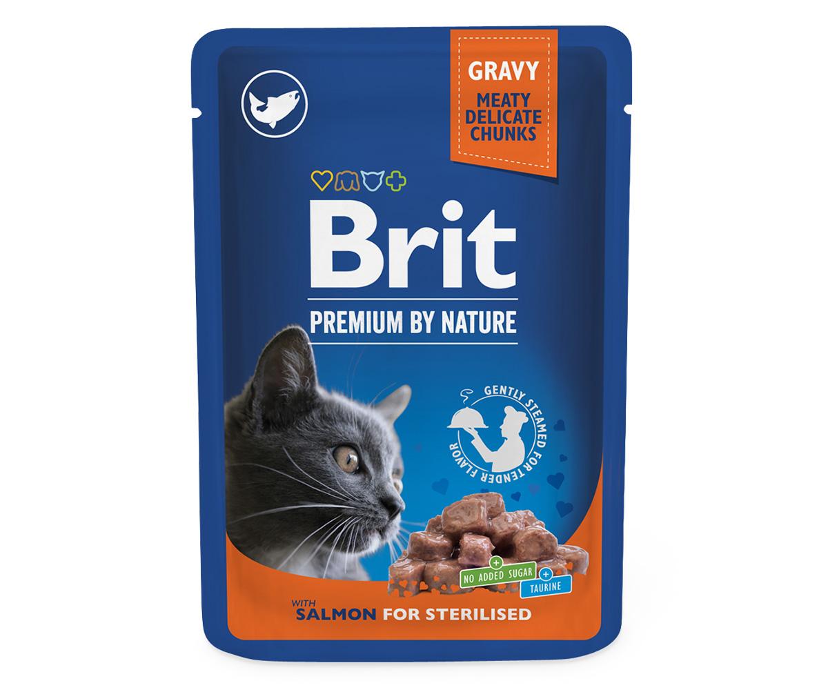 Brit Premium Cat Pouches Salmon for Sterilized 100 g 20+4 ZDARMA