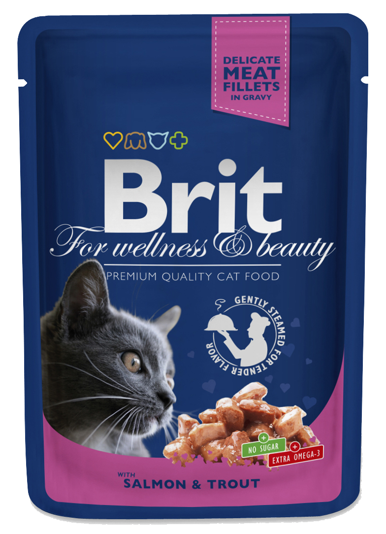 Brit Premium Cat Pouches s lososem a pstruhem 100 g 20+4 ZDARMA