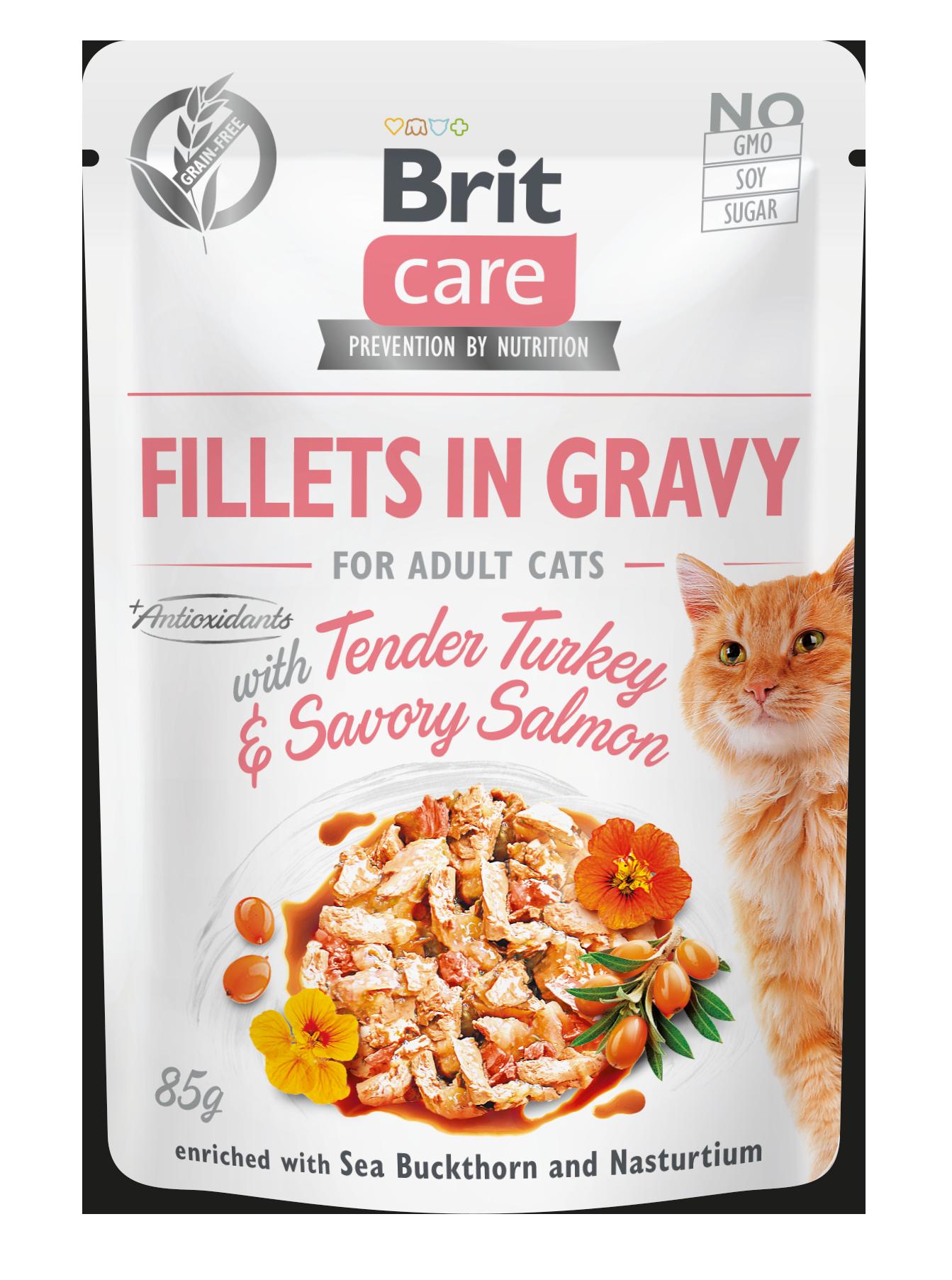 Brit Care Cat Fillets in Gravy with Tender Turkey & Savory Salmon 85 g 20+4 ZDARMA