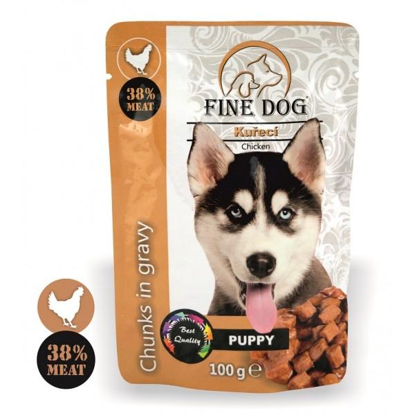 Fine Dog kapsička Puppy kuřecí v omáčce 100g