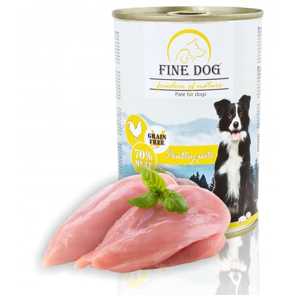 Fine Dog FoN konzerva pro psy drůbeží 70% masa Paté 400g
