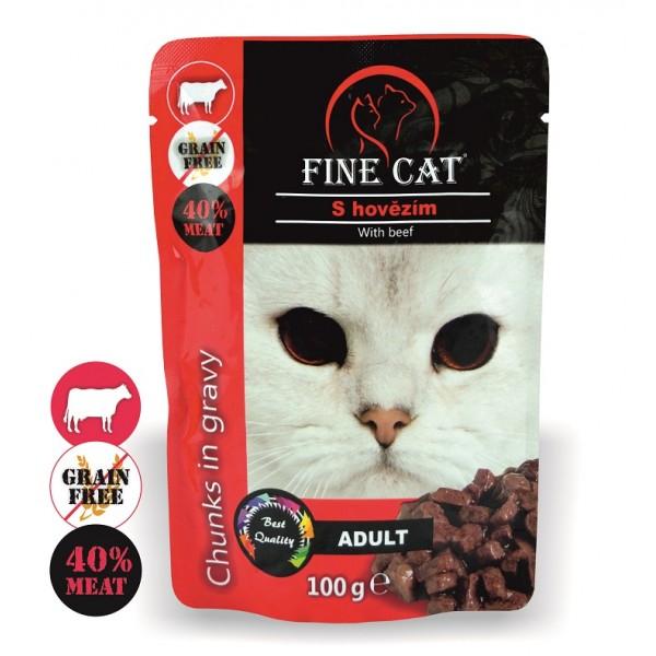 Fine Cat kapsička Grain-Free Adult hovězí v omáčce 100g