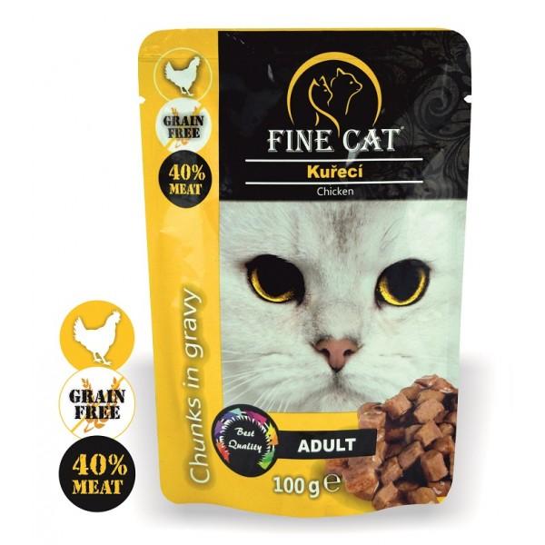 Fine Cat kapsička Grain-Free Adult kuřecí v omáčce 100g