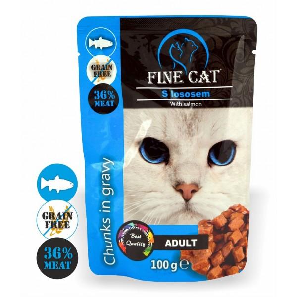 Fine Cat kapsička Grain-Free Adult losos v omáčce 100g