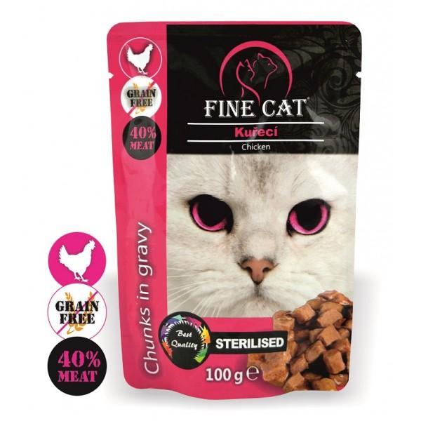 Fine Cat kapsička Grain-Free Sterilised kuřecí v omáčce 100g