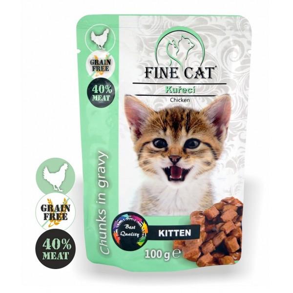 Fine Cat kapsička Grain-Free Kitten kuřecí v omáčce 100g