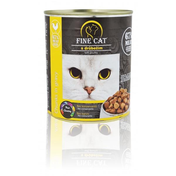 Fine Cat konzerva pro kočky s drůbežím 830g