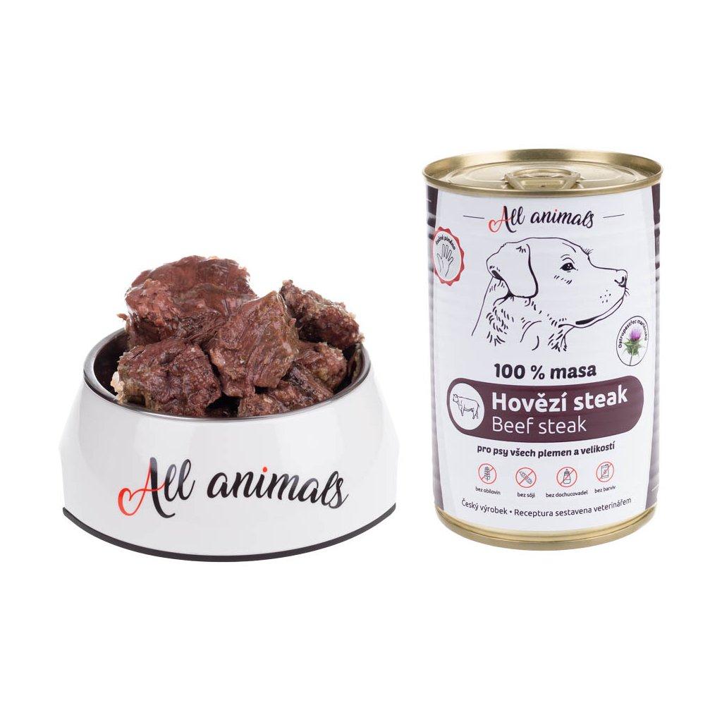 All Animals DOG hovězí steak 400g