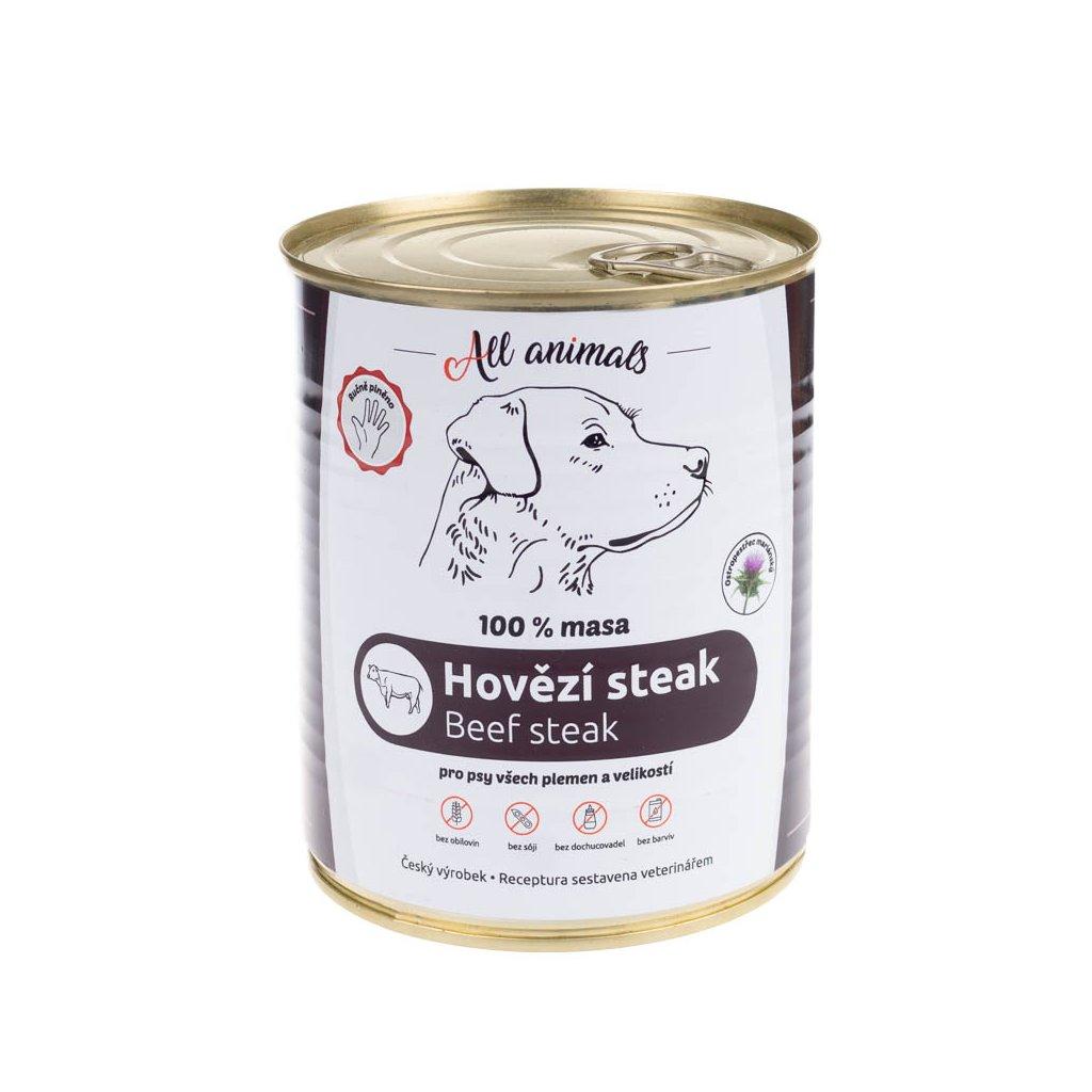 All Animals DOG hovězí steak 800g