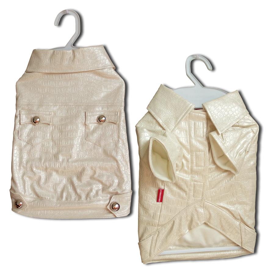Kabátek Croco Artificial Leather White XXL