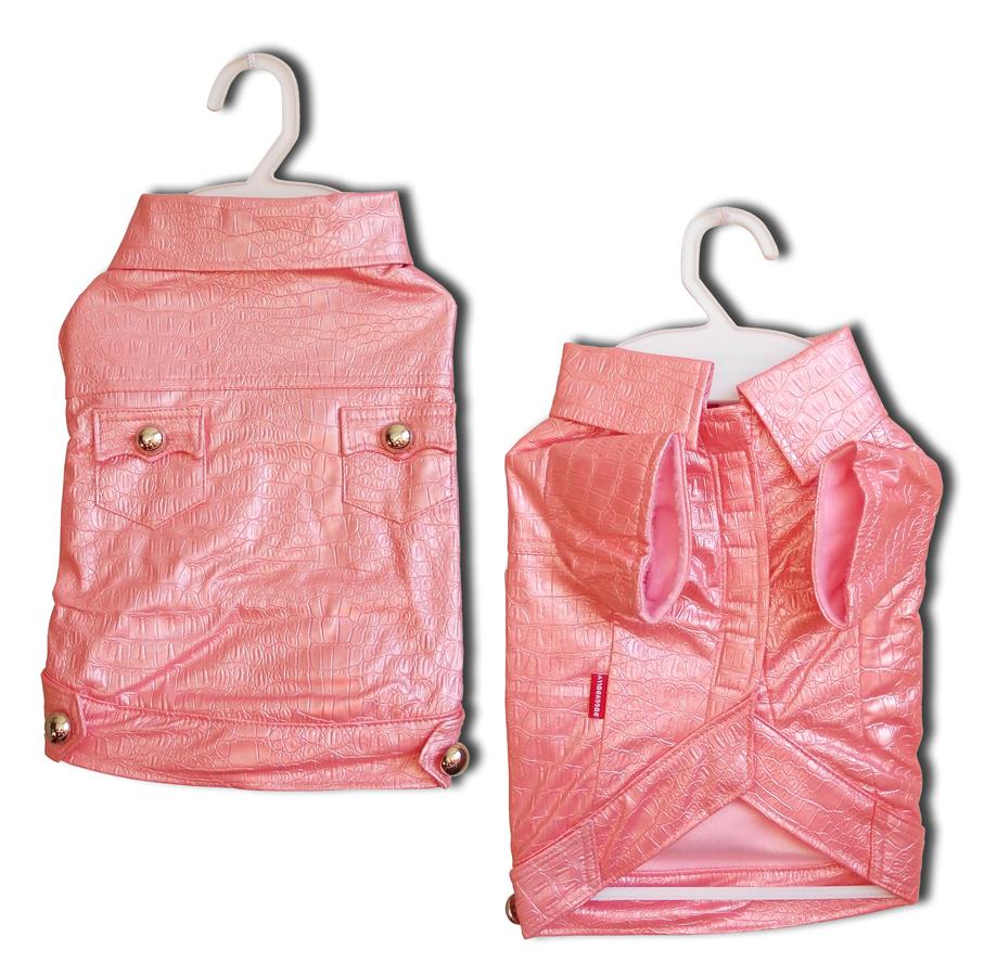 Kabátek Croco Artificial Leather Pink XXL