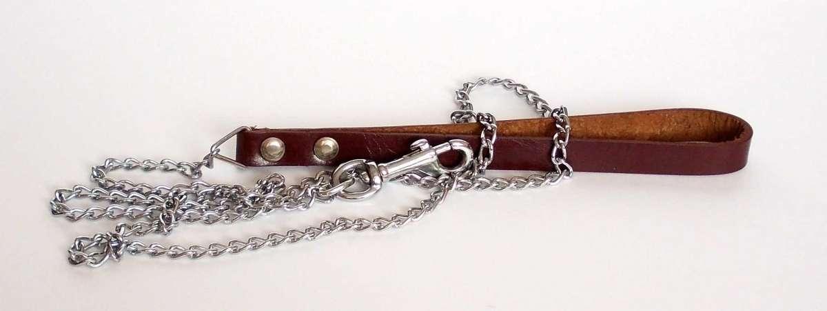 Vodítko řetěz s koženým uchem 1,6mmx 120cm