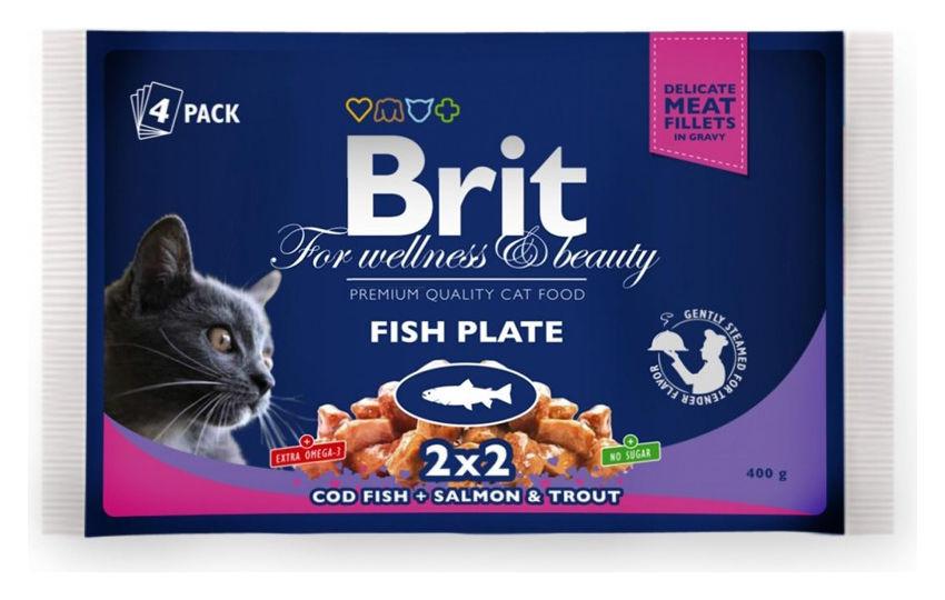 Brit Premium Cat Pouches RYBÍ MIX 400g (treska, losos/pstruh)