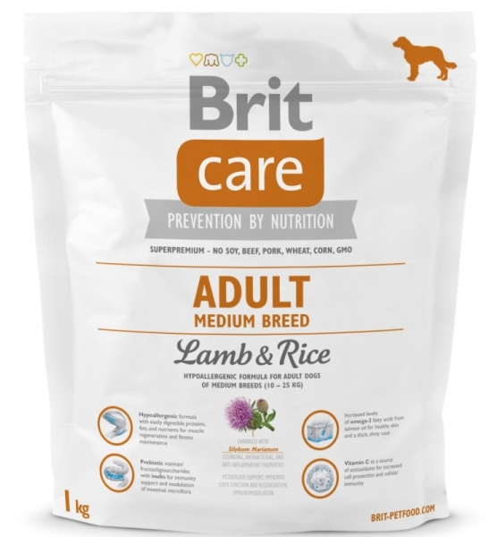 NEW Brit Care Adult Medium Breed Lamb & Rice 1kg