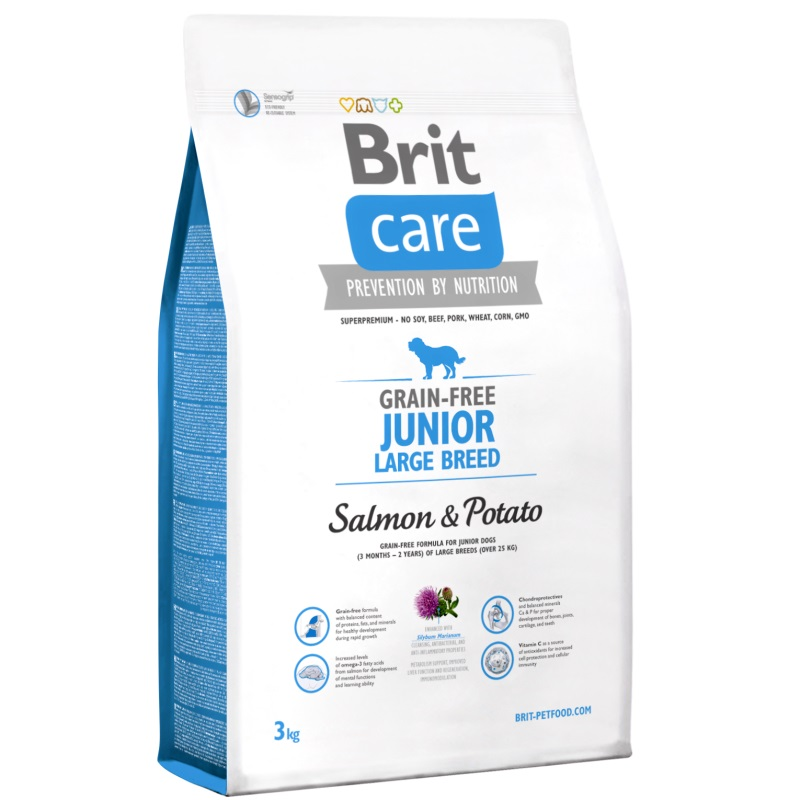NEW Brit Care Grain-free Junior Large Breed Salmon & Potato 3kg