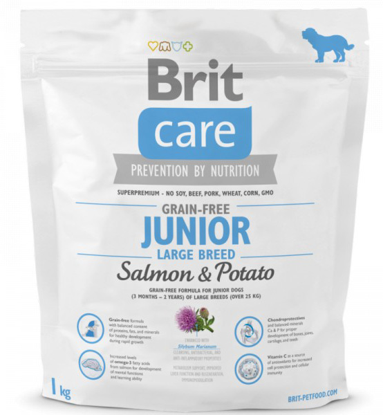 NEW Brit Care Grain-free Junior Large Breed Salmon & Potato 1kg