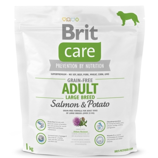 NEW Brit Care Grain-free Adult Large Breed Salmon & Potato 1kg