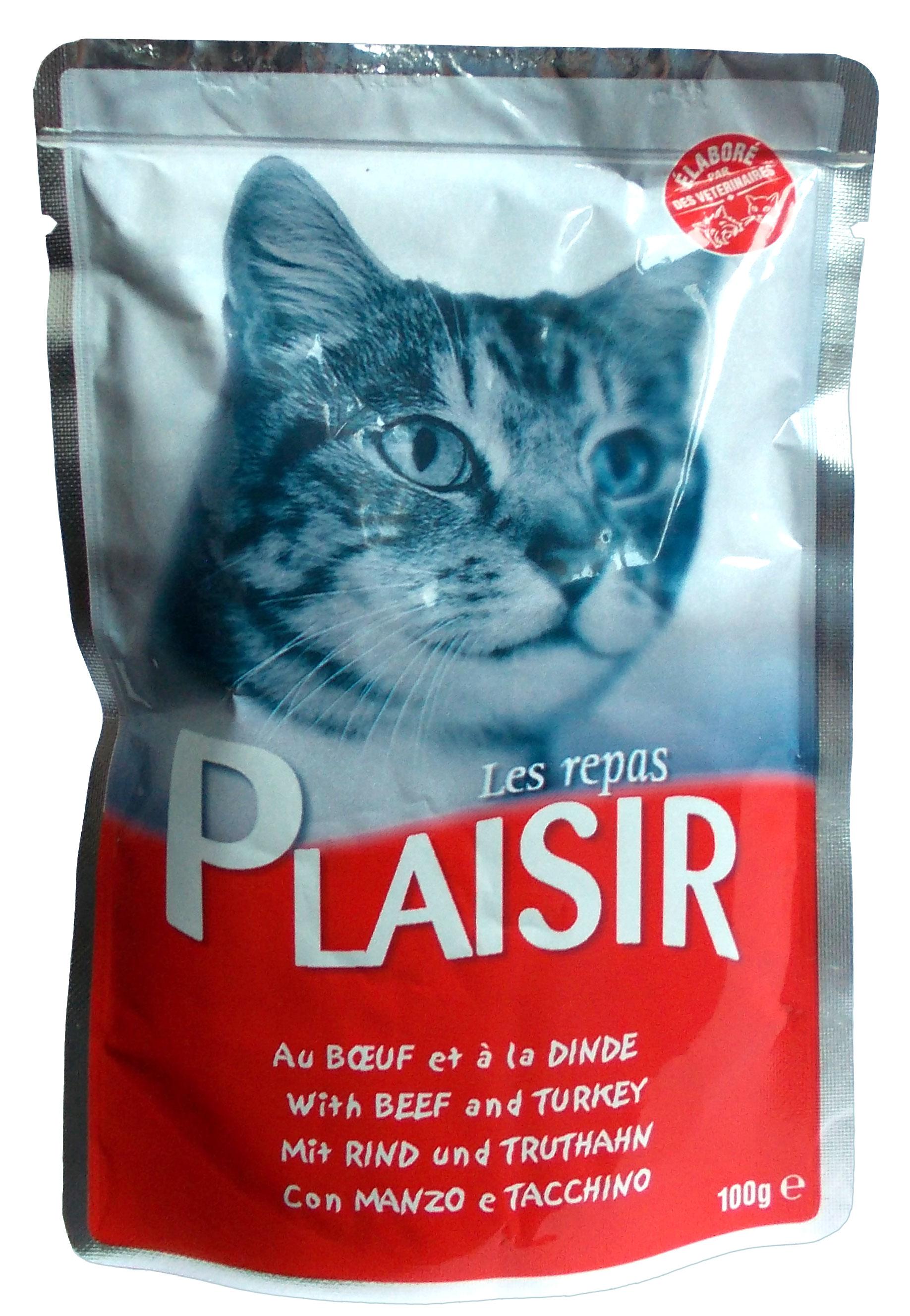 Plaisir Cat kapsička hovězí + krůtí 100g