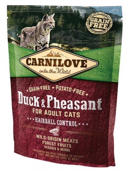 Carnilove CAT Duck & Pheasant for Adult Cats - Hairball Control 400g