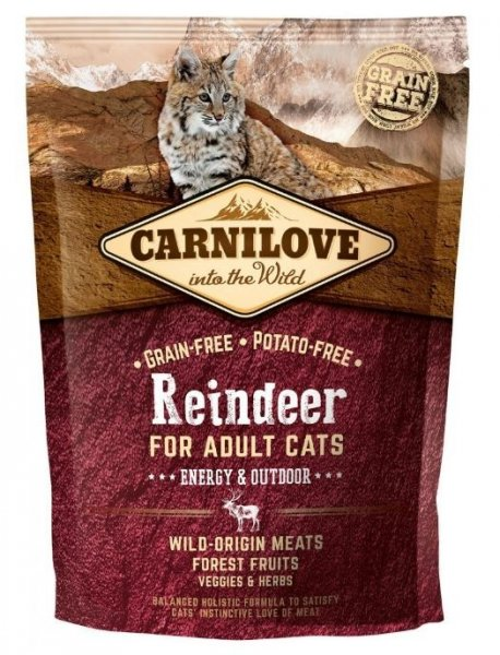 Carnilove CAT Reindeer for Adult Cats - Energy & Outdoor 400g