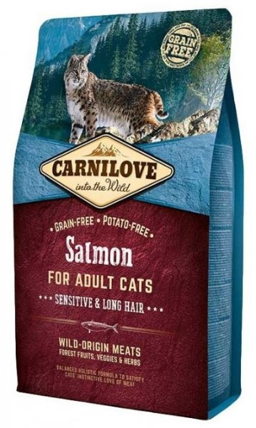 Carnilove CAT Salmon for Adult Cats - Sensitive & Long Hair 2kg