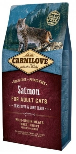 Carnilove CAT Salmon for Adult Cats - Sensitive & Long Hair 6kg