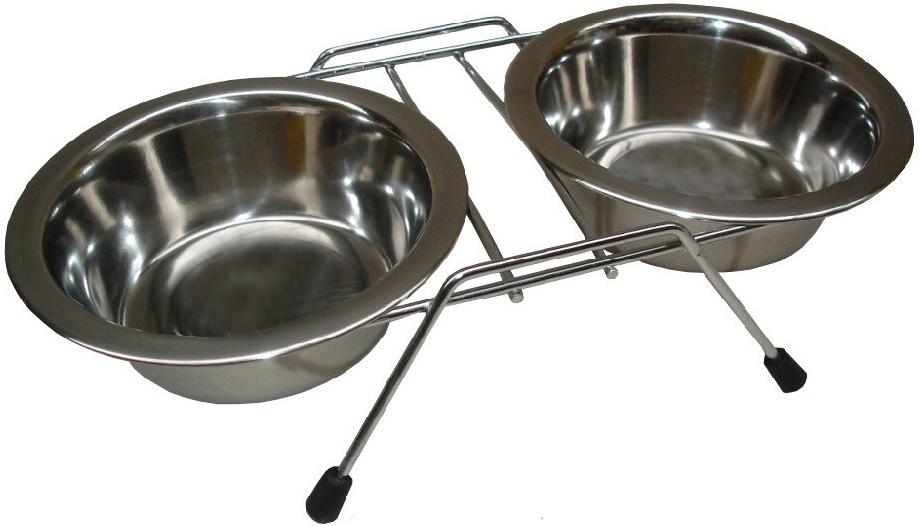 Nerezové misky dvojité ve stojánku 2x0,9l