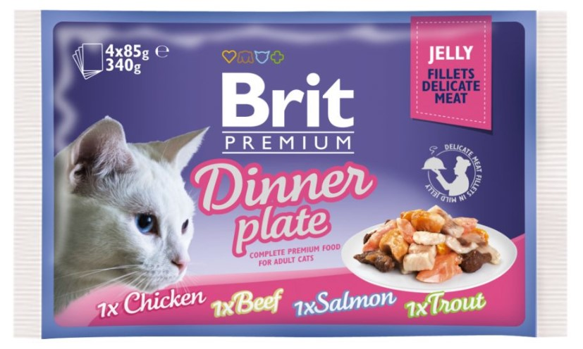 Brit Premium Cat Delicate Fillets in Jelly Dinner Plate 340g (4x85g)