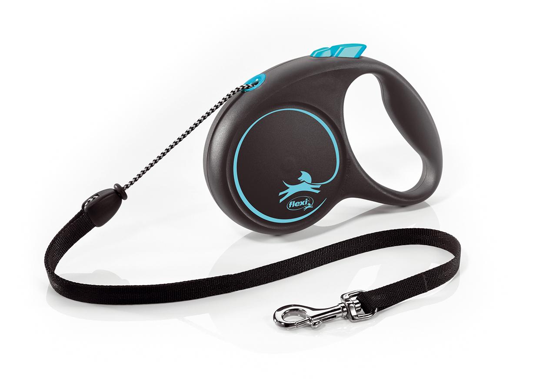 Vodítko Flexi Design M 5m (max 20kg) lanko modré puntíky