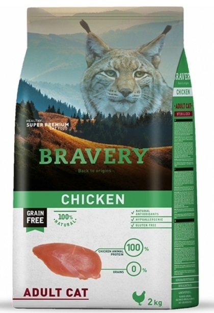 BRAVERY cat ADULT Grain Free chicken 2kg