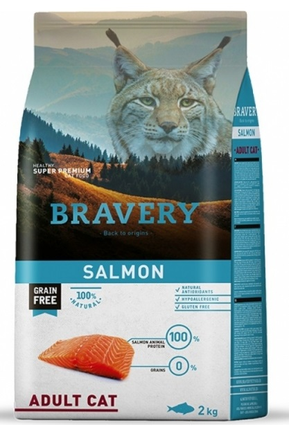 BRAVERY cat ADULT Grain Free salmon 2kg