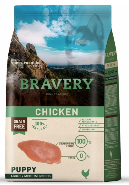 BRAVERY dog PUPPY Large / Medium Grain Free chicken 4kg