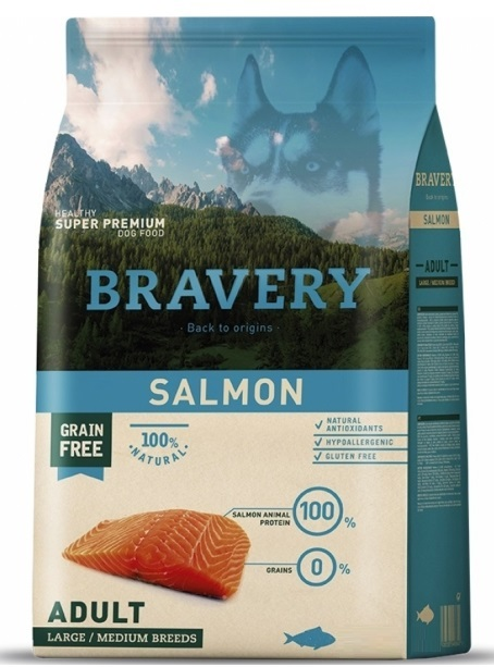 BRAVERY dog ADULT Large / Medium Grain Free salmon 4kg