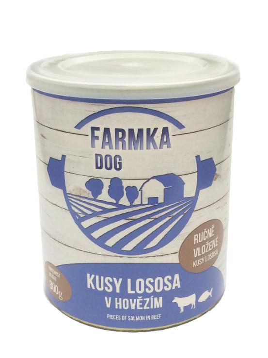 FARMKA DOG masová konzerva s lososem 800g