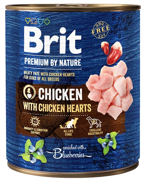 Brit Premium by Nature Chicken with Hearts 800g 5+1 ZDARMA