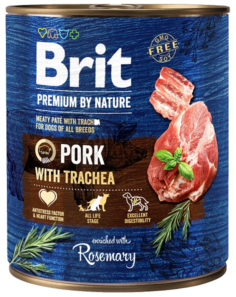 Brit Premium by Nature Pork with Trachea 800g 5+1 ZDARMA