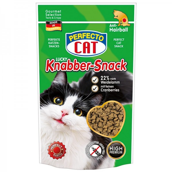 Perfecto Cat Lucky Knabber-Snack s Jehněčím a brusinkami - Anti-Hairball 50g
