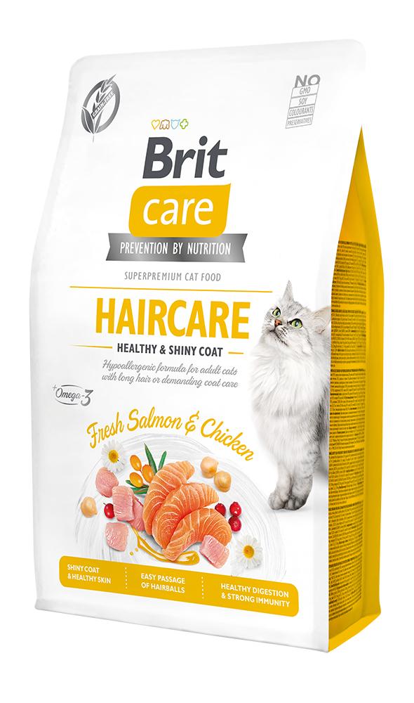 Brit Care Cat Grain-Free Haircare Healthy & Shiny Coat 2kg + 400g ZDARMA