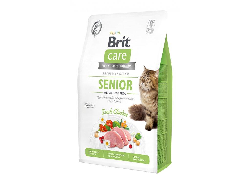 Brit Care Cat Grain-Free Senior Weight Control 2kg + 400g ZDARMA