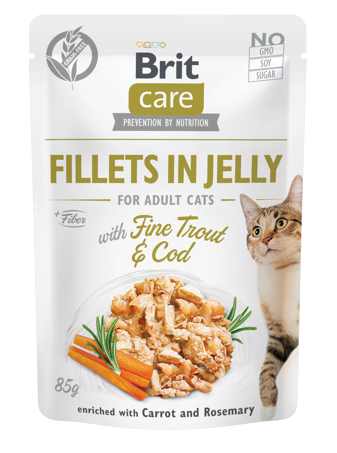 Brit Care Cat Fillets in Jelly with Fine Trout & Cod85g