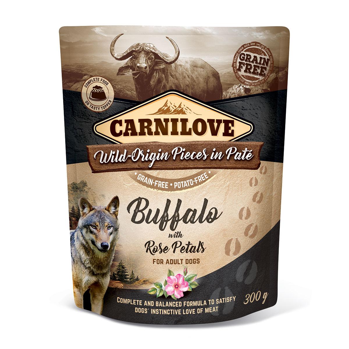 Carnilove Dog Pouch Paté Buffalo with Rose Petals 300g 10 + 2 ZDARMA