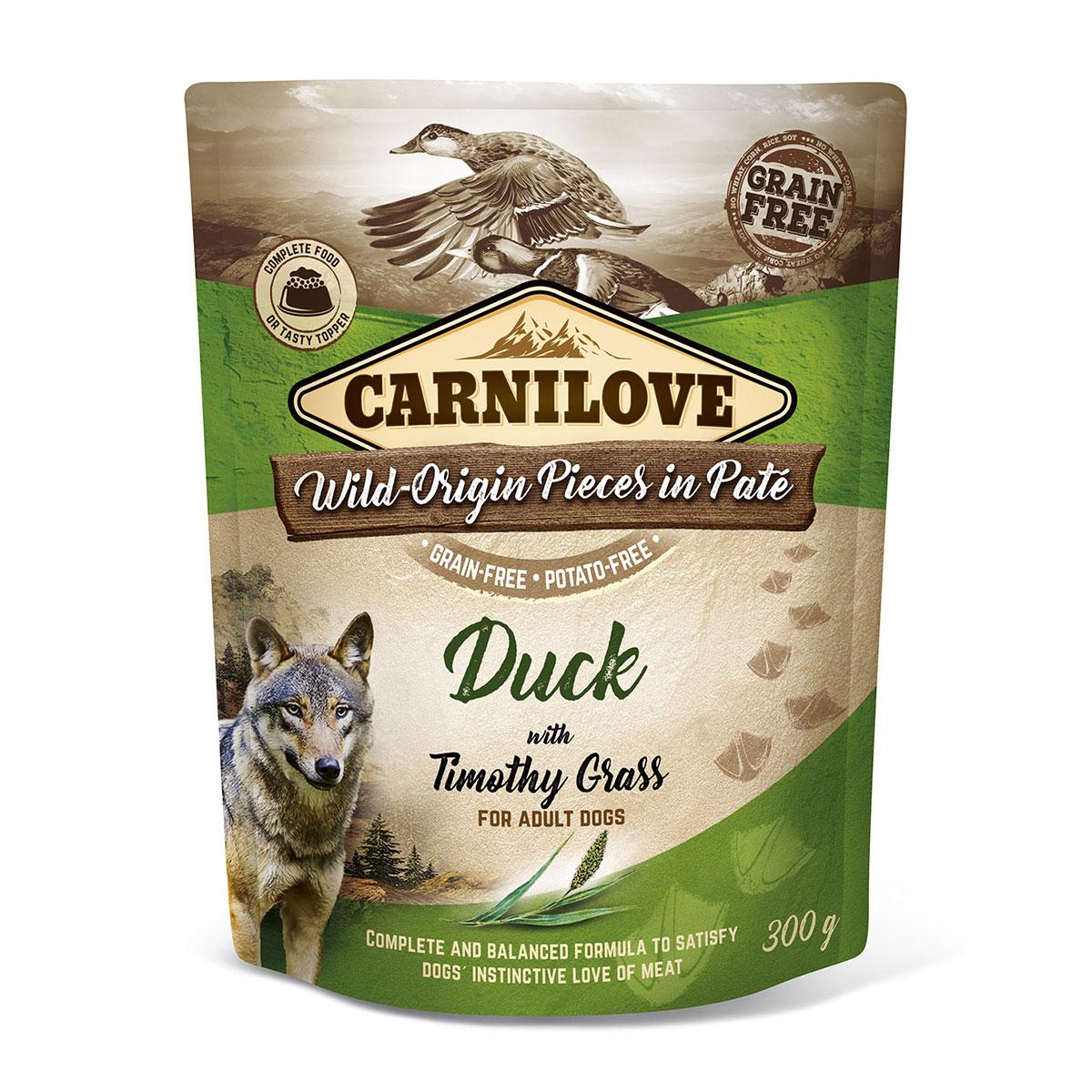Carnilove Dog Pouch Paté Duck with Timothy Grass 300g 10 + 2 ZDARMA