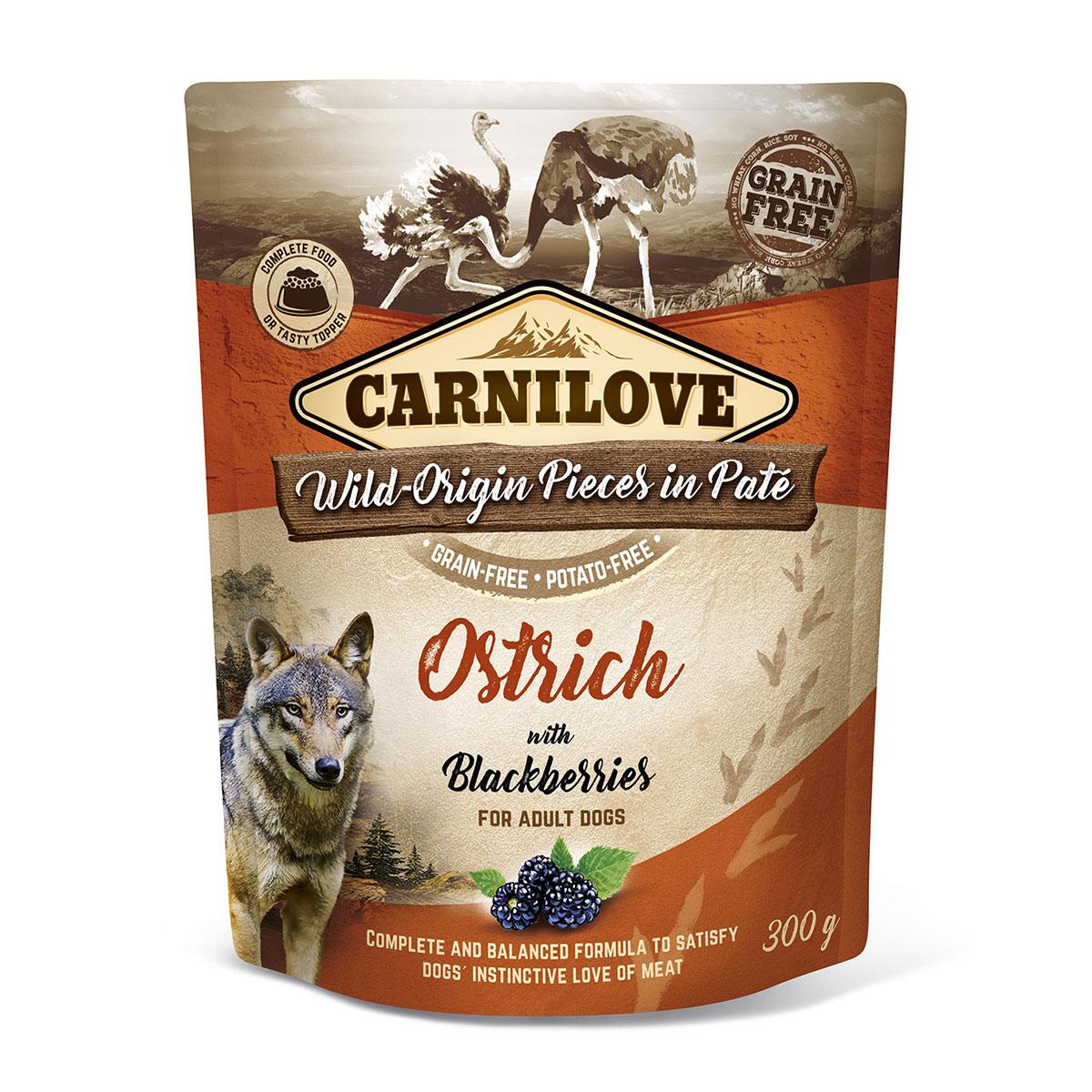 Carnilove Dog Pouch Paté Ostrich with Blackberries 300g 10 + 2 ZDARMA