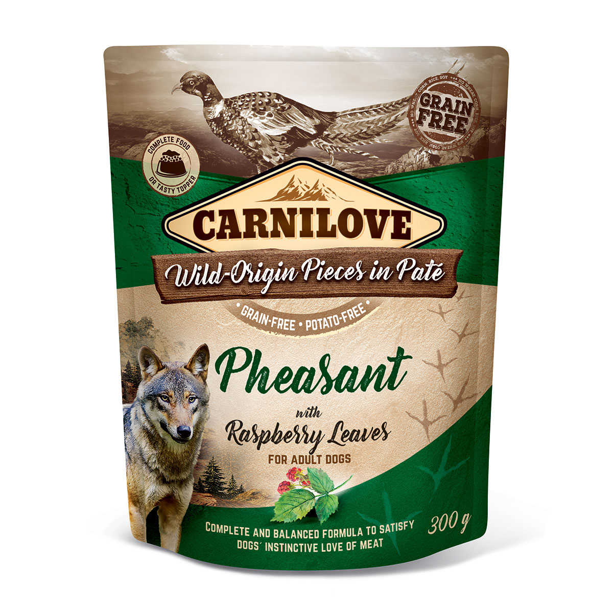 Carnilove Dog Pouch Paté Pheasant with Raspberry Leaves 300g 10 + 2 ZDARMA