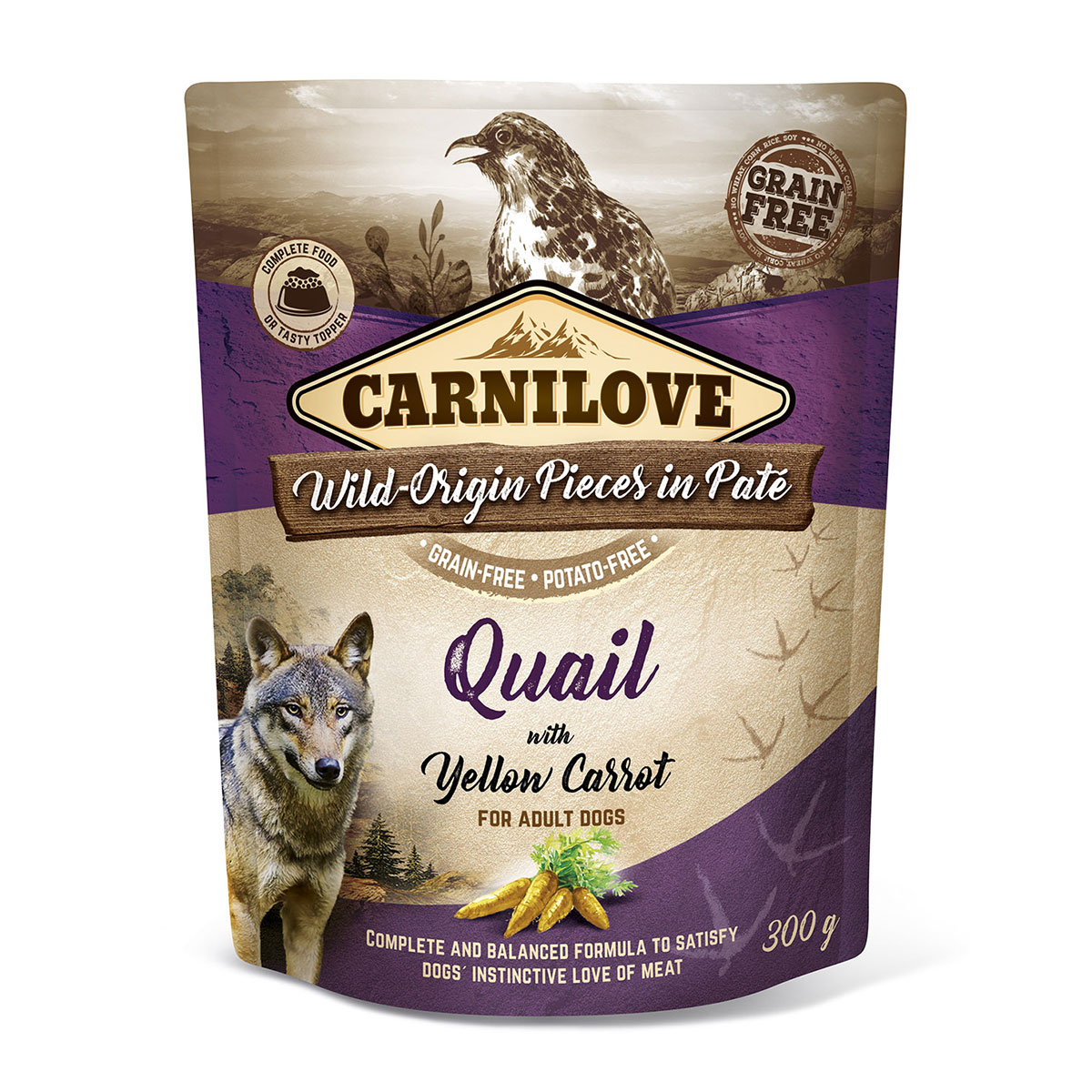 Carnilove Dog Pouch Paté Quail with Yellow Carrot 300g 10 + 2 ZDARMA