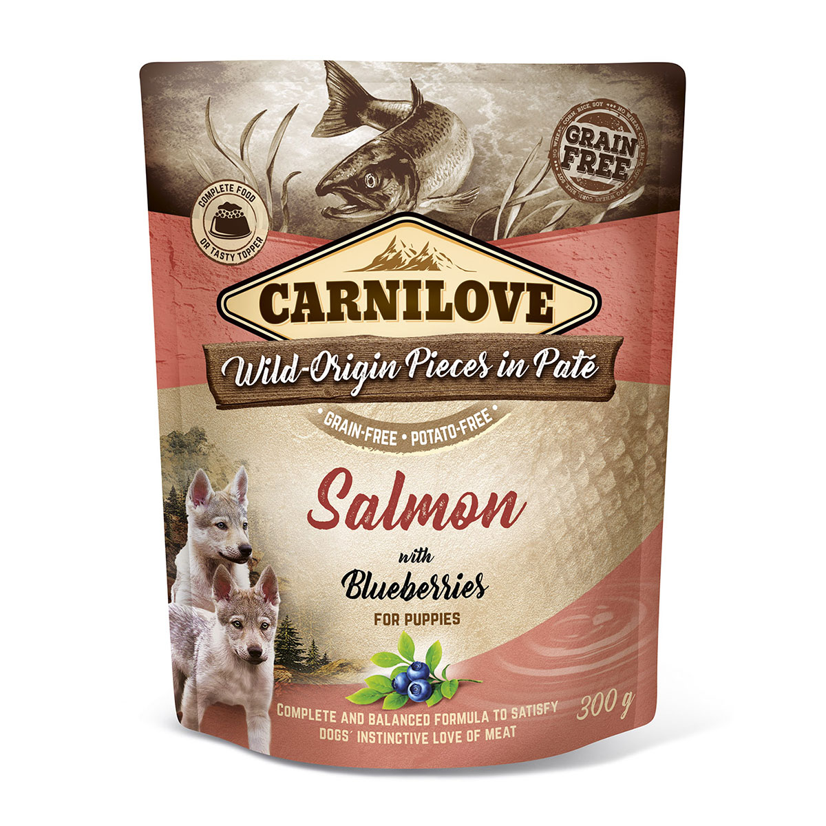 Carnilove Dog Pouch Paté Salmon with Blueberries for Puppies 300g 10 + 2 ZDARMA