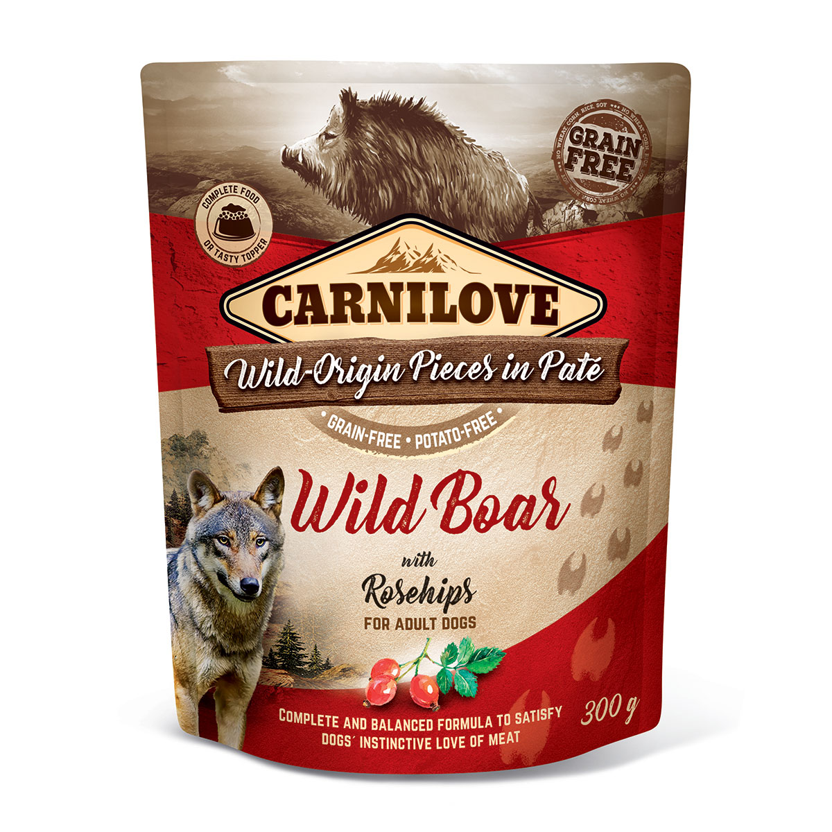 Carnilove Dog Pouch Paté Wild Boar with Rosehips 300g 10 + 2 ZDARMA