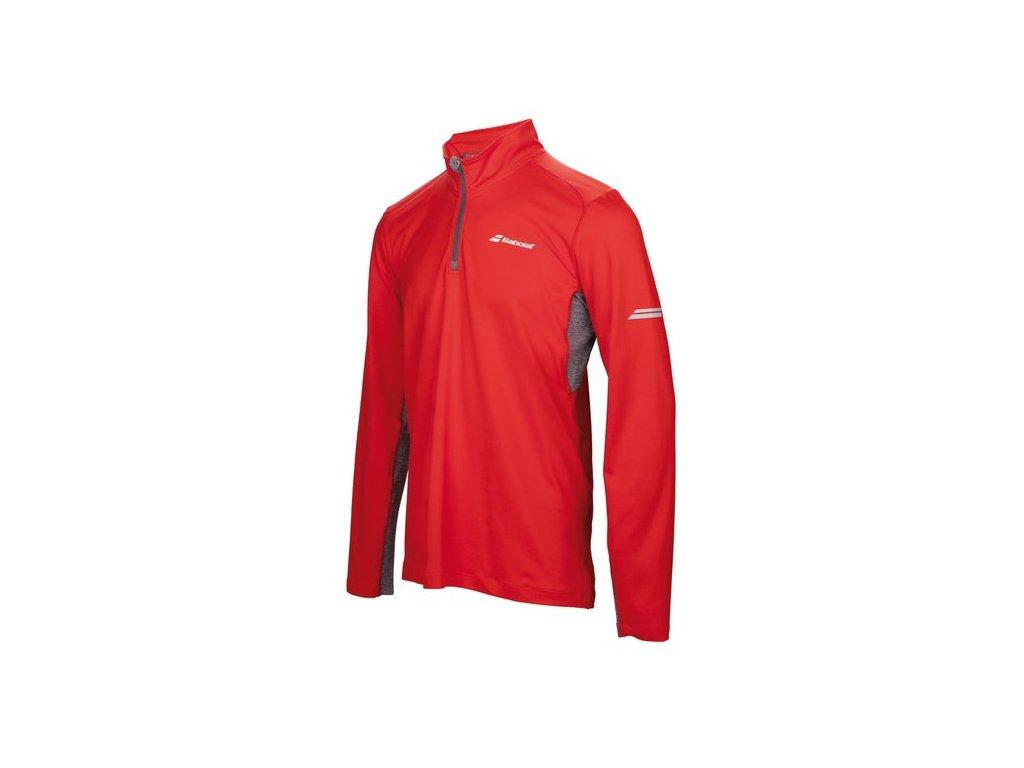 pánské tričko Babolat 1/2 Zip men - fluo red