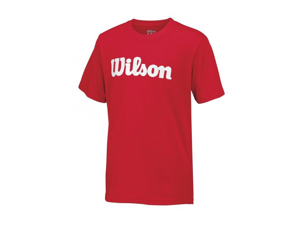 dětské tričko  Wilson Y SCRIPT COTTON TEE Red/White