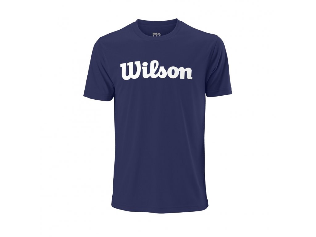 pánské tričko Wilson Men UWII SCRIPT TECH TEE Blue/white